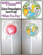 24 Baby Jungle Safari Animals Birthday Party Or Shower Lollipop Stickers Favors