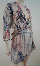 SANDWICH Cream & Multicolour Floral Sheer Belted Short Dress Sz:40; UK12