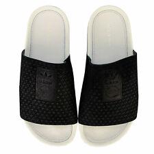 Womens adidas Originals Adilette Luxe Slide Sandals In Core Black / Off White