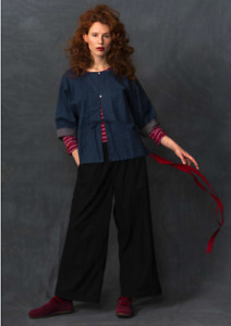 BNWT Gudrun Sjoden Size Small 8-10 Black Denim Wide Leg Trousers in 100% Cotton