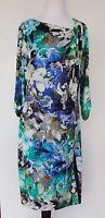 PER UNA (Marks & Spencer) SIze 14 Blue/Green Floral Dress