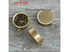 LOT 100 BRASS COMPASS BRONZE FINISH LOCKET NECKLACE STYLE