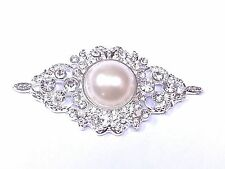 MT36-5pcs 60mm Stick On Diamante & Pearl Almond Wedding Crystal Toppers Brooch