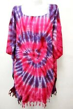 V6 DRESS CAFTAN BEACH TUNIC KAFTAN PONCHO BLOUSE BATWING FREE TIE DYE UNIQUE