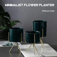 Succulent Flower Pot Stand Iron Ceramic Plant Rack Garden Display Shelf Holder