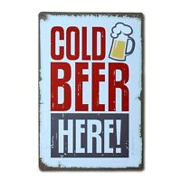 Cold Beer Vintage Tin Sign Metal Decor Metal Sign
