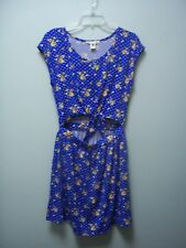 DEREK HEART Womens Floral Blue Open Belly Dress Juniors  Medium M  NEW