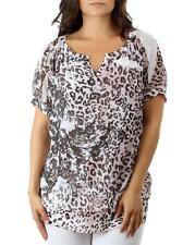 AMAZING SEXY PINK LEOPARD ROSES SUBLIMATION V-NECK BLOUSE TOP 2X