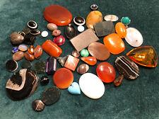 More details for semi-precious stones agates old antique jewellery over 50 pieces cornelian agate