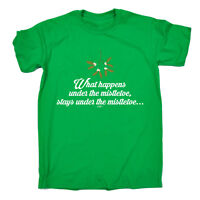 Funny T Shirt What Happens Under The Mistletoe Birthday Joke tee Gift T-SHIRT