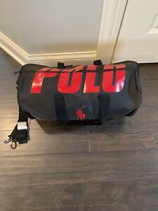 Men's Ralph Lauren POLO Duffel Bag Red Black NWT Weekender Gym Travel NEW