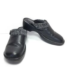 Women's Bjornal Black Pebbled Leather Warm Slip On Clogs Size 11 M