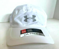 NEW! Under Armour Womens Perforated Run Cap-White/Reflective Silver OSFA