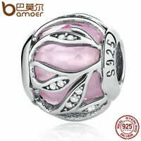 Bamoer Radiance S925 Sterling Silver Charm Pink & Clear CZ Fit Bracelets Jewelry