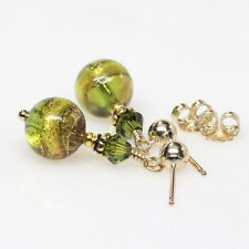 Olive Green Venetian Murano Stud Post Earrings, Gold Filled, Small, Petite