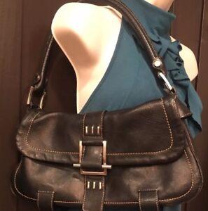 Kenneth Cole Women's Black Leather Buckle Purse Leather Shoulder Handbag #384