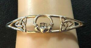 "Sterling Silver Bracelet Claddagh Irish Celtic Cuff 6.5"" 12g 925 #1150"