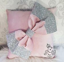 Bow Cushion. Soft Velvet. Glitter. Blush pink. Silver.