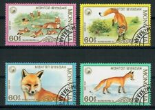 SAN38 Mongolia 1987 Animals Fauna Foxes, Set of 4, used/CTO