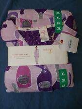 Munki Munki Flannel Pajamas 2PC PJ Set Women SZ XL Champagne Purple NWT