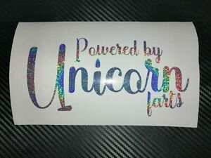 SILVER HOLOGRAPHIC Powered by Unicorn Farts Car Sticker Decal Funny Cute Drift