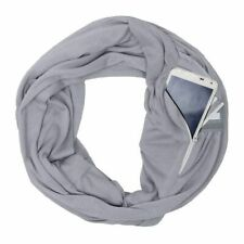 Convertible Infinity Scarf With Hidden Zipper Pocket Loop Neck Scarf Women Grey