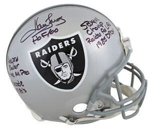 """Raiders Howie Long """"Career Stat"""" Signed Authentic Proline Full Size Helmet BAS"""