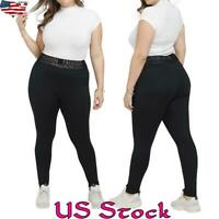 Plus Size Women Sports Mid Waist Sports Yoga Pants Fitness Gym Leggings Trousers
