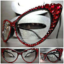 Women's VINTAGE RETRO CAT EYE Style Clear Lens EYE GLASSES Red Crystals Handmade