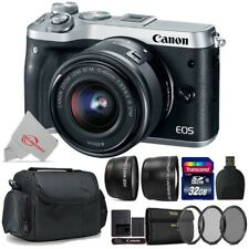Canon EOS M6 Mirrorless Digital Camera Silver with 15-45mm + Top Accessory Kit