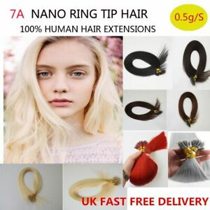 """7A 16""""-20"""" 0.5g Russian Premier Remy Nano Ring 100% Human Hair Extensions UK"""