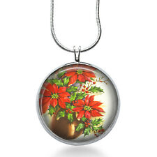 Poinsettia Necklace - Christmas Jewelry - Flowers Pendant- Gift