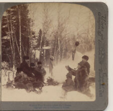 Winter Hunters Fur Caps Campfire Stories after the chase Stereoview 1903