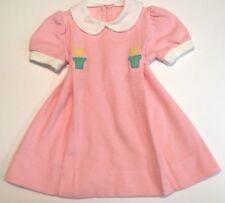 819e8053d31 Vintage Girl Dress Little World Pink Peter Pan Collar Flowers Dress 2T