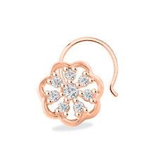 Sterling Silver 14K Rose Gold Fn Diamond Cluster Flower Women'S Nose Pin