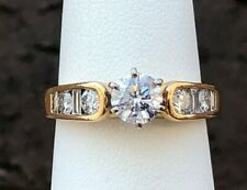 14K GOLD ROUND & BAGUETTE DIAMOND ENGAGEMENT RING 1.00CT SIZE 6