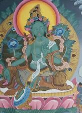 More details for late 20th c. very rare green tara painting founded in palcho monastery, tibet.