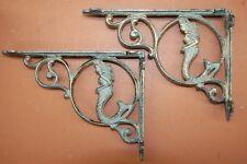 (2) Mermaid beach decor, Bronze-look cast iron corbels Shelf Brackets B-49a