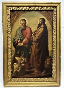 Antique 1900's Framed Oil On Canvas Painting Apostles St. Mathew & Mark Angel