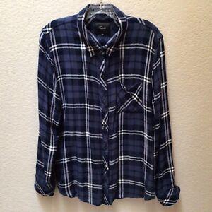 Rails Hunter Button Down Shirt Long Sleeve Blue Plaid Women's Size XL
