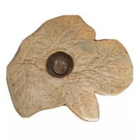 """Flower Frog Green Shaped as a Display Of Textured Leaves 7.5x7x1.5"""" Ceramic"""