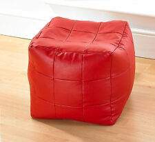 Stylish Red Luxury Faux Leather Patchwork Style Bean Bag Cube Pouffe Footstool