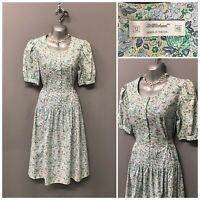 Vintage St Michael Green Floral Cotton Dress UK 12 EUR 40 Made in UK