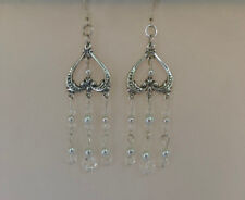 Sterling Silver, Pearl and Crystal Chandelier Earrings. 2 5/8 Inches.