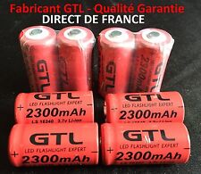 8 Piles Accus Rechargeables CR123A 16340 3.7V 2300Mah GTL Li-ion Batteries