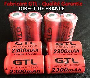 8 Battery Rechargeable Batteries CR123A 16340 3.7V 2300Mah Gtl LI-ION Batteries