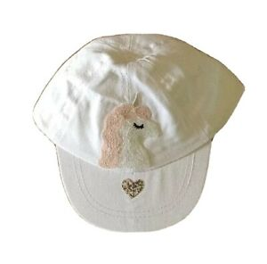 Baby Girl 0 - 12 Months White Cap with Unicorn & Heart Brand New w/o Tags