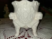 Beautiful Vintage Ivory Ceramic Cherub Decorative Planter No Chips No Cracks