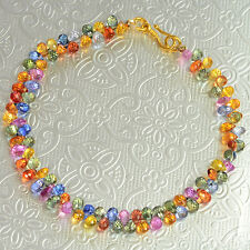 18K Solid Yellow Gold Fine Natural Multi Sapphire Teadrop Beads Bracelet