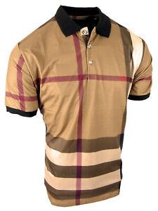 Mens Plaid Polo Shirt New Designer Prints Slim Fit Stretch Golf Casual New Color